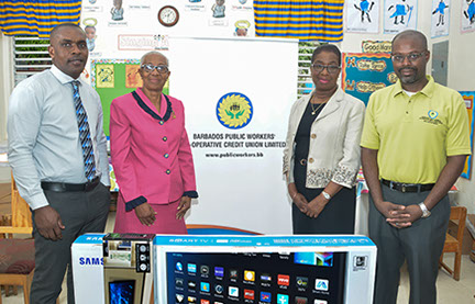 Levere Catlyn, Group Financial Controller, BPWCCUL; Mrs. Miller, Principal of St. Boniface Nursery; Clorinda Alleyne, Group CEO of BPWCCUL and I